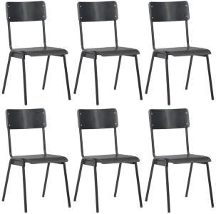 Be Basic Spisestoler 6 stk svart kryssfinér - Svart