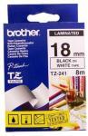 Brother P-Touch Tape Sort på Hvit 18mm Ulaminert (8m) TZE-N241 (Kan sendes i brev)