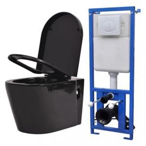 Vegghengt toalett med skjult sisterne svart keramikk