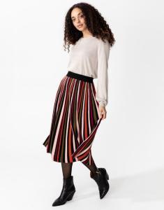 Indiska Pleated multi-striped skirt  XL