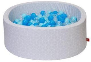 knorr® leker ballbad mykt - Geo terninggrå inkludert 300 baller myk blå / blå / gjennomsiktig