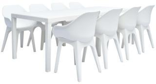 vidaXL Utendørs spisestue 9 deler plast hvit
