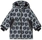 Småfolk Black Apple Print Fleece Lined Winter Coat