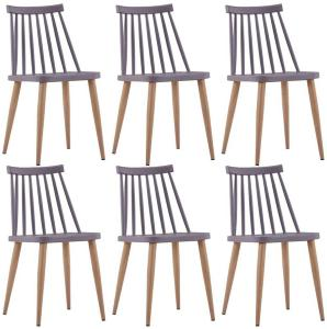Spisestoler 6 stk grå plast stål -