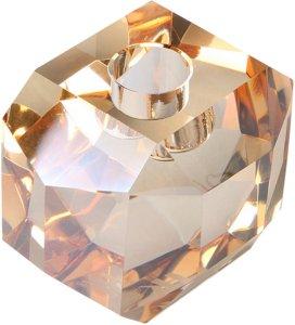 HKliving Lysestake av glass, Crystal amber diamond Unisex Fersken