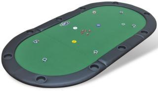 vidaXL Pokerbord sammenleggbar bordplate 10 spillere grønn