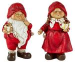 KJ Collection Figur - Nisse - 2 stk. - Polyresin - Rød - H 9,5cm - L 5,0cm - B 4,5cm - PET æske