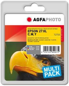 AGFAPHOTO 3-pack - gul, cyan, magenta - compatible - tonerpatron (alternativ for: Epson 27XL, Epson T2715, Epson C13T27154010) (APET271TRID)