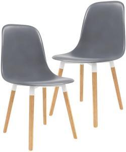 Spisestoler 2 stk grå plast - Grå