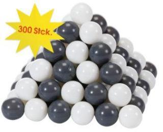 knorr® leker ballsett Ø 6 cm - 300 baller grå / krem