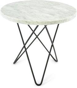 OX DENMARQ Mini O Table Matt Hvit Marmor med Svart Ramme Ø40