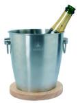 Laguiole Nassiet Champagnekjøler Isbøtte Rustfritt Stål med Treunderlegg