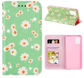 Daisy Pattern Samsung Galaxy A31 Lommebok Deksel - Grønn