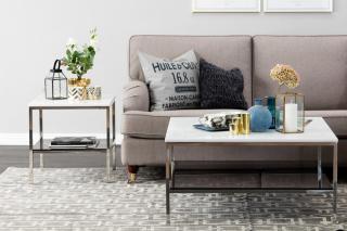 Marise Sofabord 90 cm - Hvit/Stål