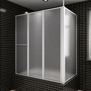 vidaXL Dusj Avskjerming Vegg L-Form 70 x 120 x 140 cm 4 Sammenlegbare Paneler