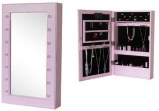 JOX, Furniture, Veggspeil& smykkeoppbevaring med LED-belysning, Rosa