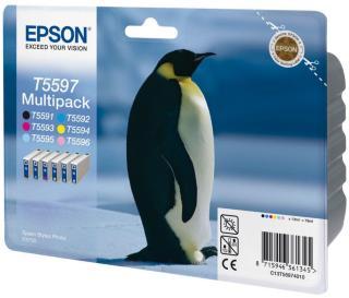 Epson Multipack T5597 - svart, gul, cyan, magenta, lys magenta, lys cyan - original - blekkpatron (C13T55974010)