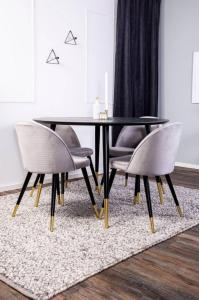 NORDFORM Spisegruppe Doris bord og 4 stk Velvet stoler Unisex Svartgrå
