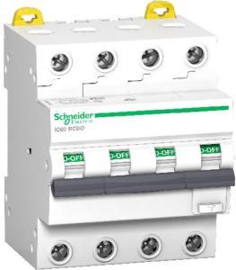 Schneider Electric Schneider Jordfeilautomat IC60 4P 32A 30MA C 6kA 1600957 Jordfeilautomat