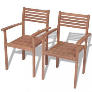 Utendørs stablestoler 2 stk - teak