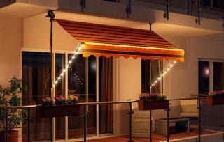 Smart LED teleskop/balkong markise sort/oransje