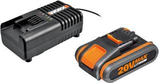 Worx WA3553 20V 4.0Ah batteri + WA3860 batterilader