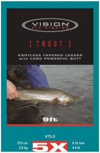 Vision Trout Leader 9' 0X Perfekt for store fluer