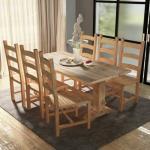 vidaXL 7-delers massivt spisebord- og stolssett teak