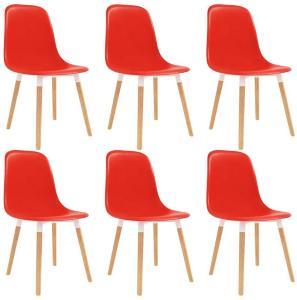 Spisestoler 6 stk rød plast - Rød