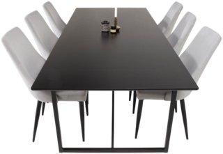 NORDFORM Spisegruppe Pinner bord og 6 stk Leone stoler Unisex Svartgrå