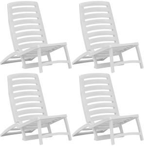 vidaXL Sammenleggbare strandstoler 4 stk hvit