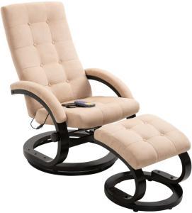 vidaXL Massasjestol med fotstøtte kremhvit mykt semsket stoff
