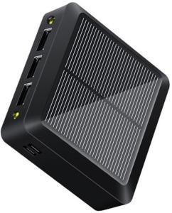 Kompakt Solcelle Powerbank - 10000mAh, 3xUSB-A - Svart