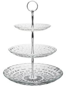 Dorre Kakefat gjennomsiktig glass 3 etasjer høyde 33 cm