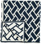 Gripsholm Pledd Jacquard Trouville, 125x150 cm Unisex Mørk blå