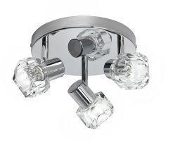 Taklampe Crystal 3 spots 3 lyskilder, 28W, krom, metall, glass