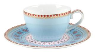 Espresso Kopp &Skål  Pip porselen blå med gull