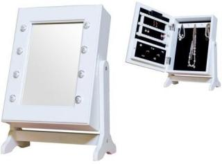 JOX, Furniture Speil& smykkeoppbevaring med LED-belysning Hvit