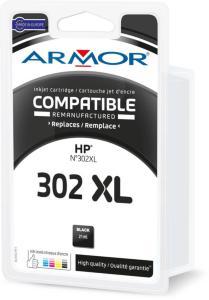 Armor Blekkpatron Sort (21ml), erstatter HP F6U68AE/302XL B20739R1 (Kan sendes i brev)