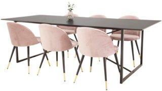 NORDFORM Spisegruppe Pinner bord og 6 stk Valletta stoler Unisex Svart/rosa