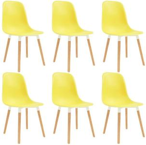 Spisestoler 6 stk gul plast - Gul