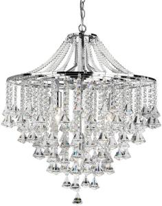 Dorchester Taklampe 5L Crystal Buttons & Pyramid Drops - Searchlight