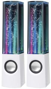 Dancing Water Speaker - med LED-lys og 2x3W høyttalere - hvit