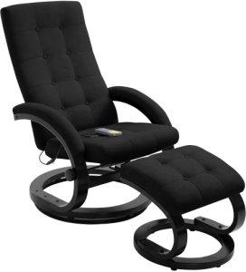 Massasjestol i semsket stoff med fotstøtte - Sort