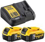 DeWalt Batterier og lader 2x XR 18V 5 0Ah