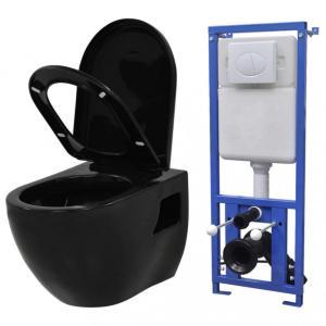 Vegghengt toalett med skjult sisterne keramikk sort