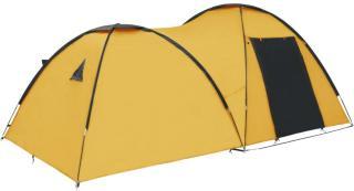 vidaXL Campingtelt igloformet 450x240x190 cm for 4 personer gul
