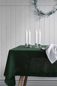 Ellos Duk Pembroke i 100% lin Unisex Mørk grønn