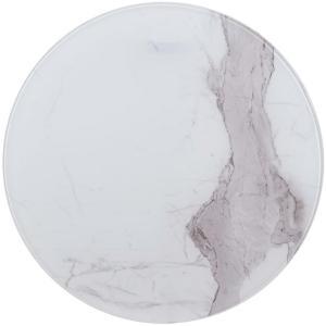 Bordplate hvit Ø70 cm glass med marmortekstur - Hvit