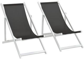 vidaXL Sammenleggbare strandstoler 2 stk aluminium og textilene svart